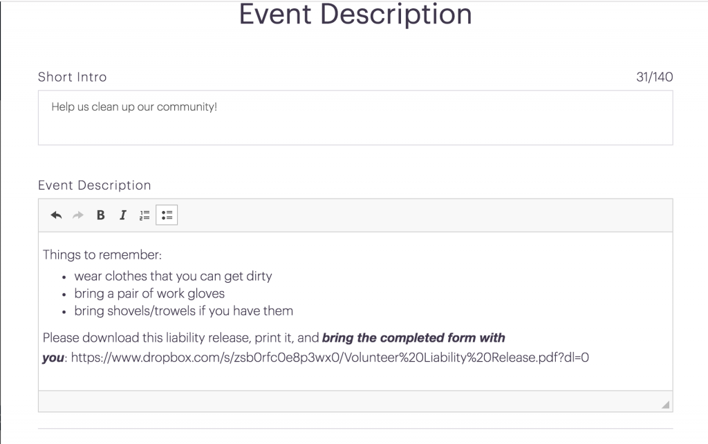 MomClone new features for signup tool and team tool event description editor
