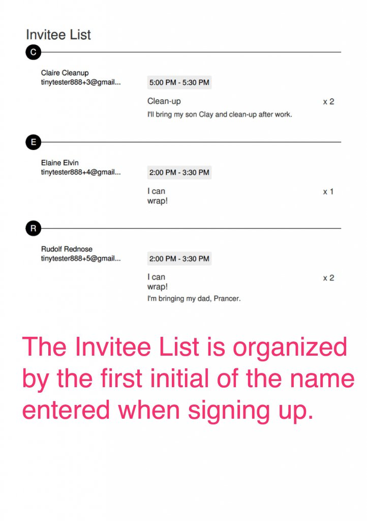 how to print a signup report Invitee List