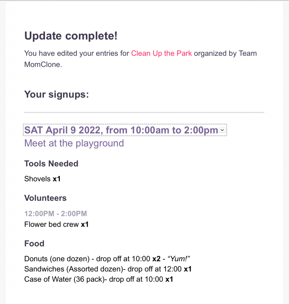 MomClone Confirmation Page and Confirmation Email Updates