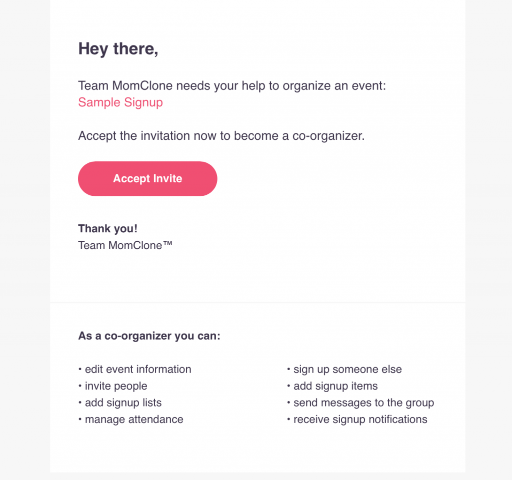 add a co-organizer to signup event signup tool planhero invite