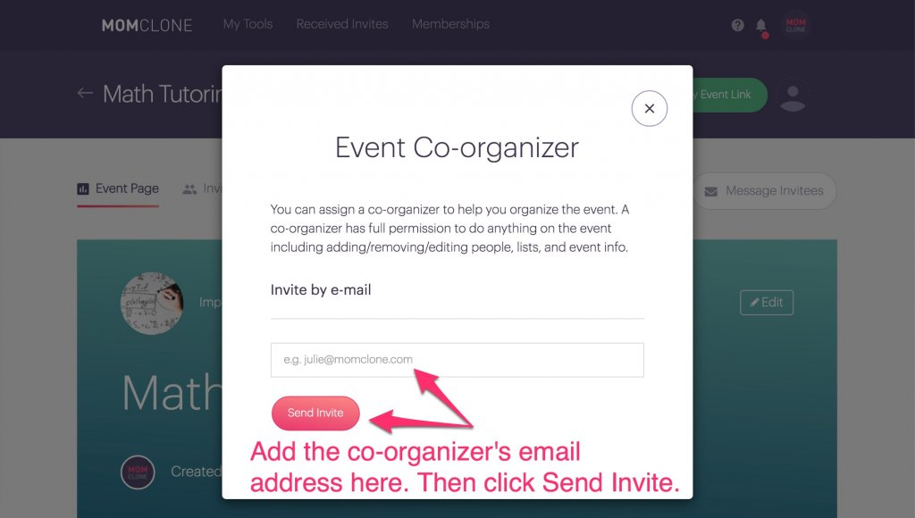 add a co-organizer signup tool planhero
