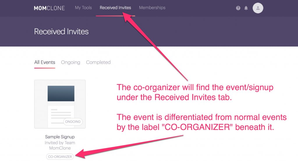 add a co-organizer on signup tool event