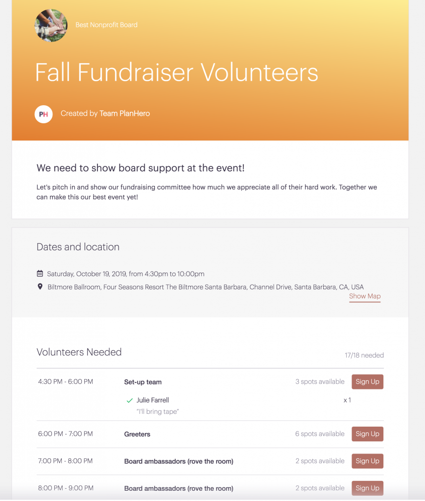 PlanHero Nonprofit Board Management Signup