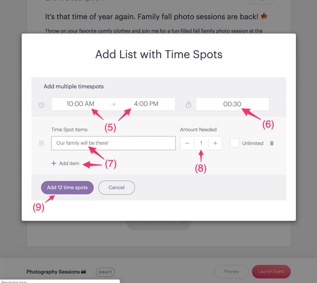 Add list with time spots screen fields PlanHero