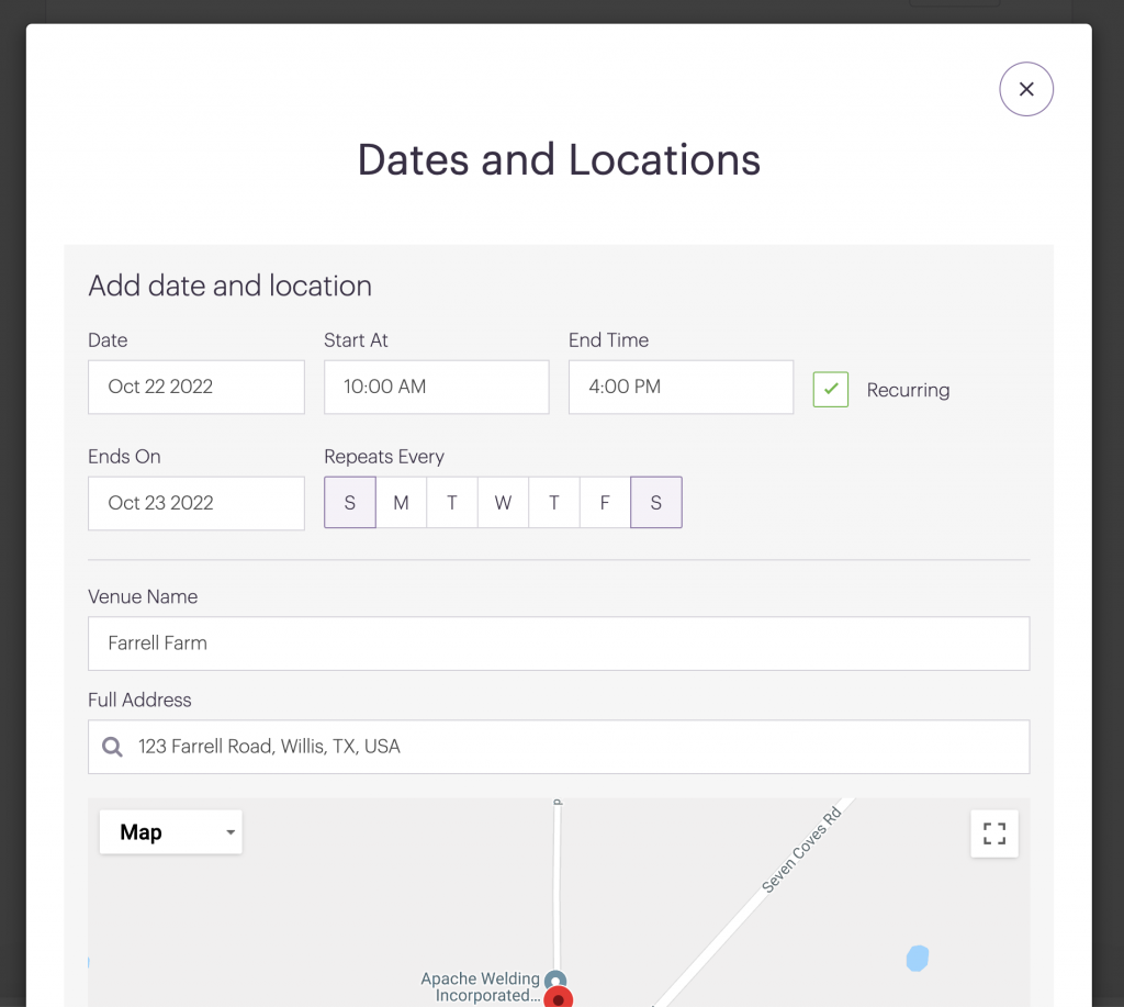 Add Signup Time Increments for dates and locations