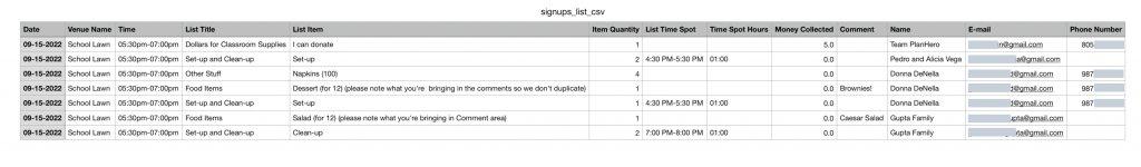 PlanHero CSV Download Example