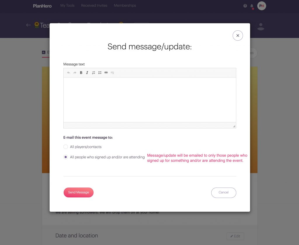 Message Feature Team Tool options