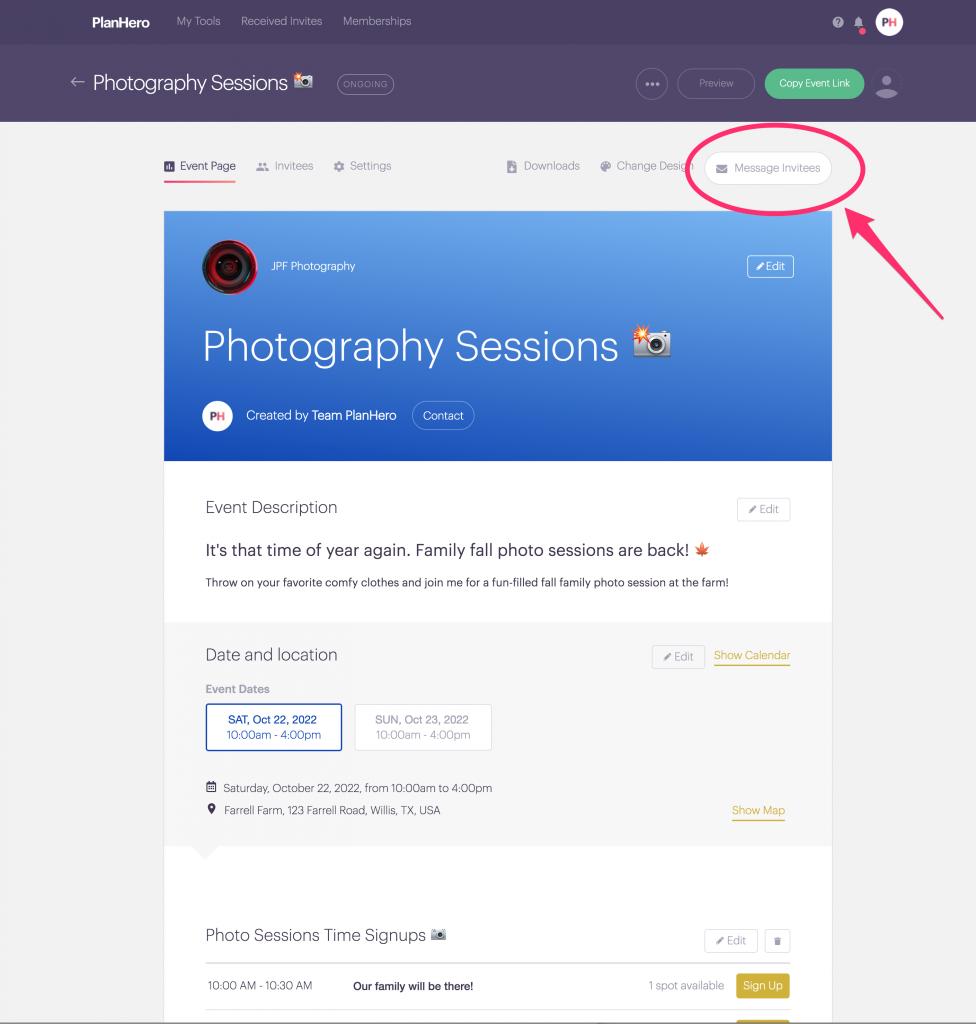 PlanHero Message Invitees Desktop 1