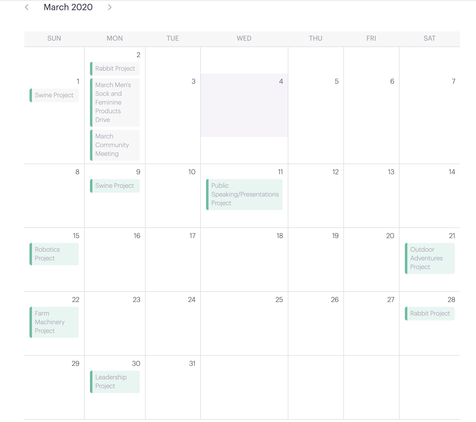 4-H Calendar Example PlanHero Club Tool