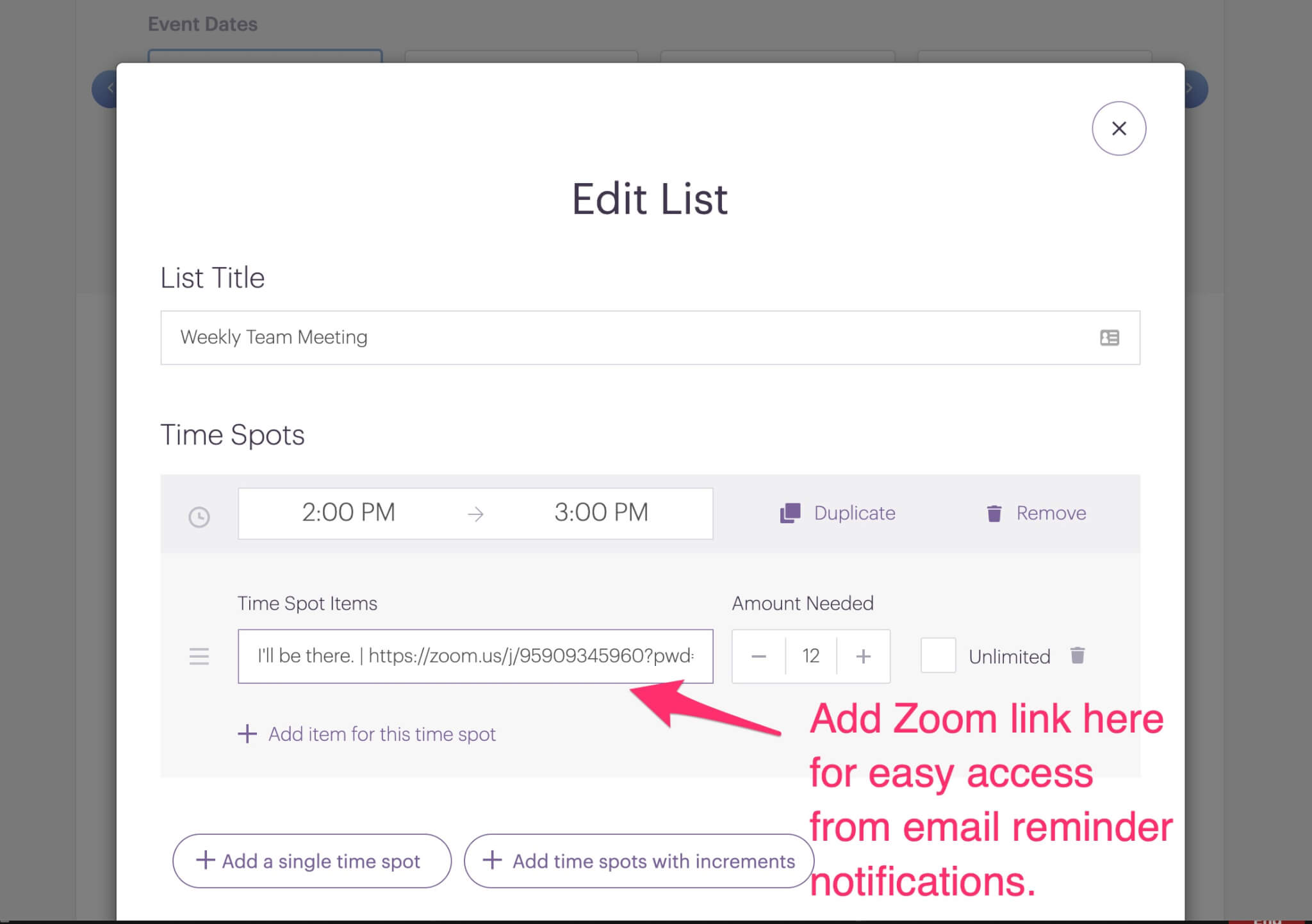 add zoom link to signup