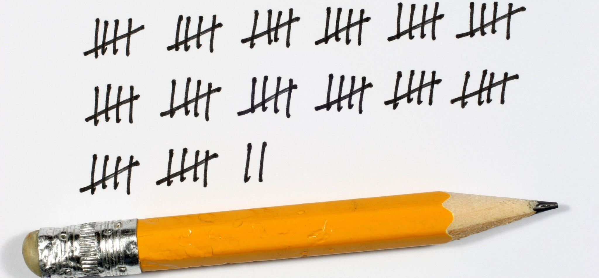 pencil tally marks track attendance signup
